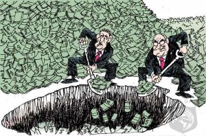 Cartoon of two businessmen shovelling money into a pit
