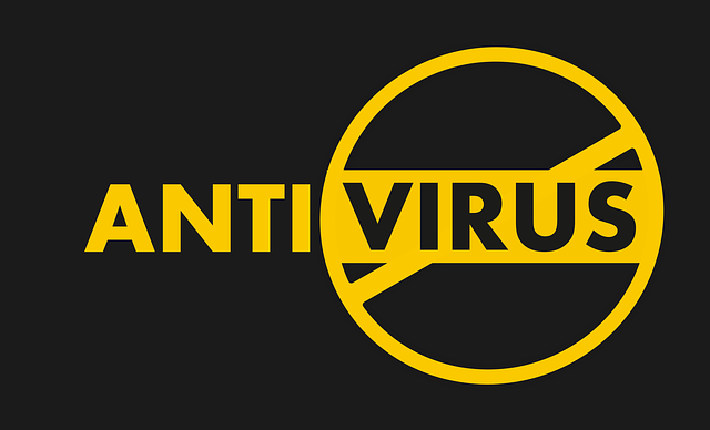 Yellow 'Anti Virus' in yellow on a black background