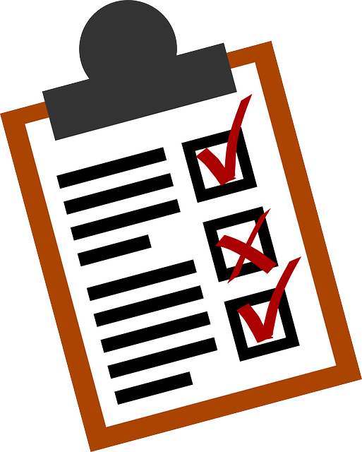 Stylized depiction of a clipboard with a checklist on it, with 2 check marks and an 'X'
