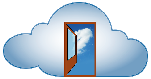 Stylized cloud with an open door in the center of it