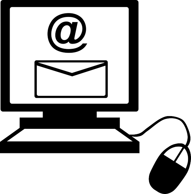 Depiction of a computer monitor and a mouse, with the screen showing the @ sign and the icon of an envelope