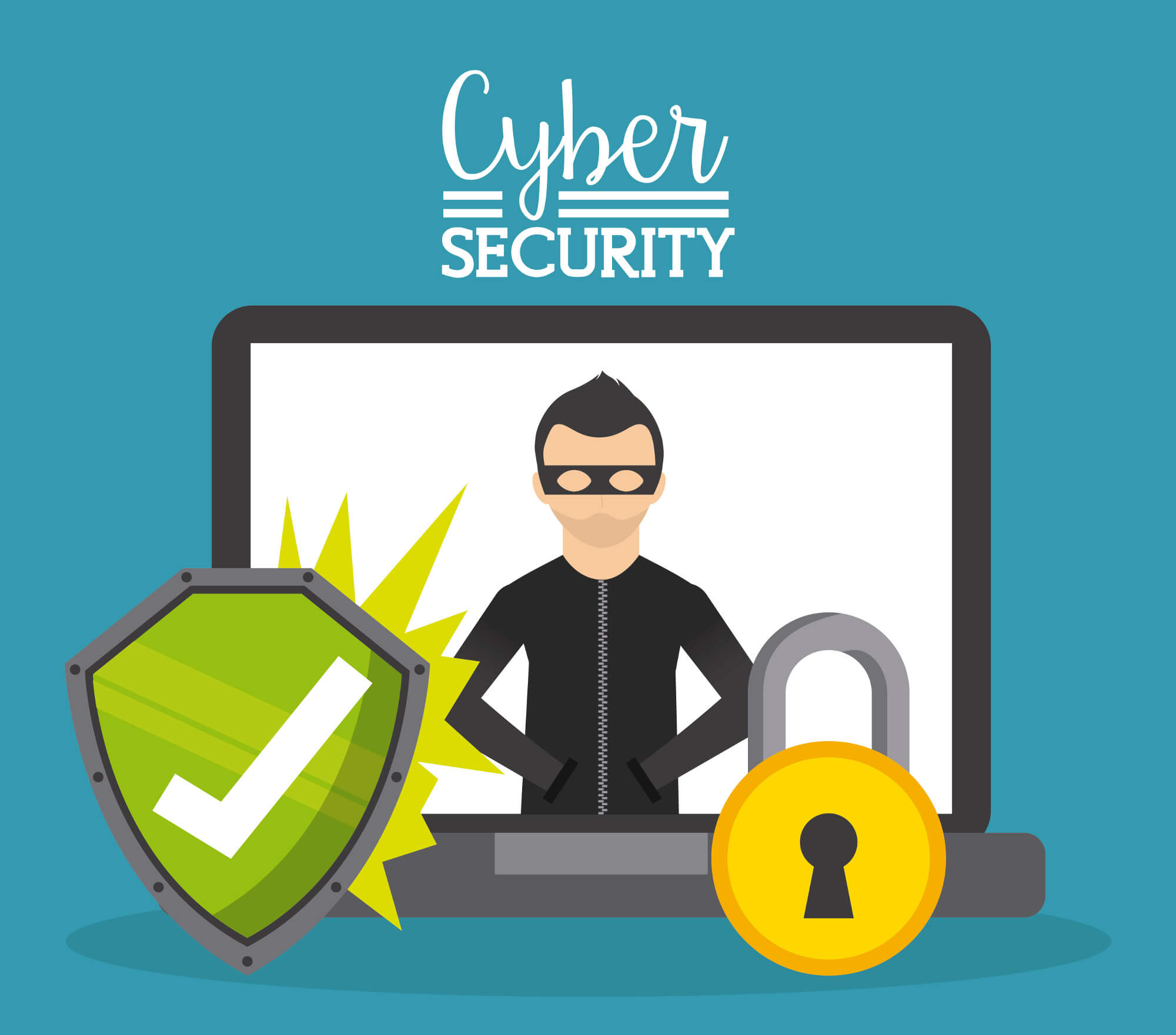 Cyber Security in text above a laptop with the image of a masked criminal, as well as a green check mark and a gold lock