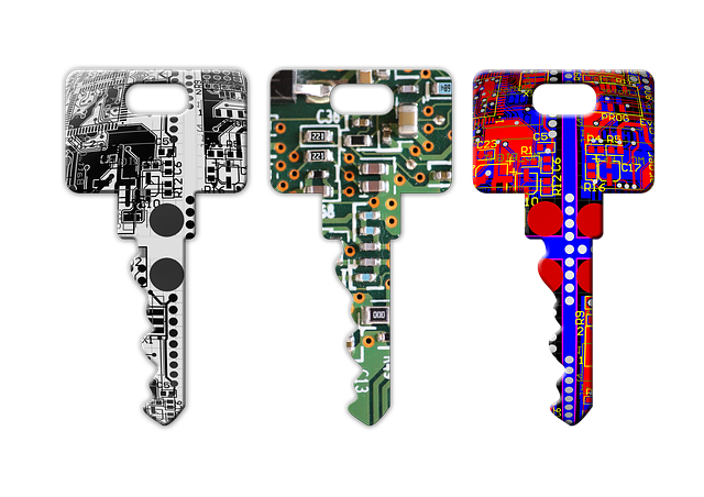 Three keys, each with a different graphic of a circuit board on it