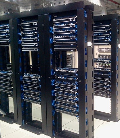 Server racks in a datacenter