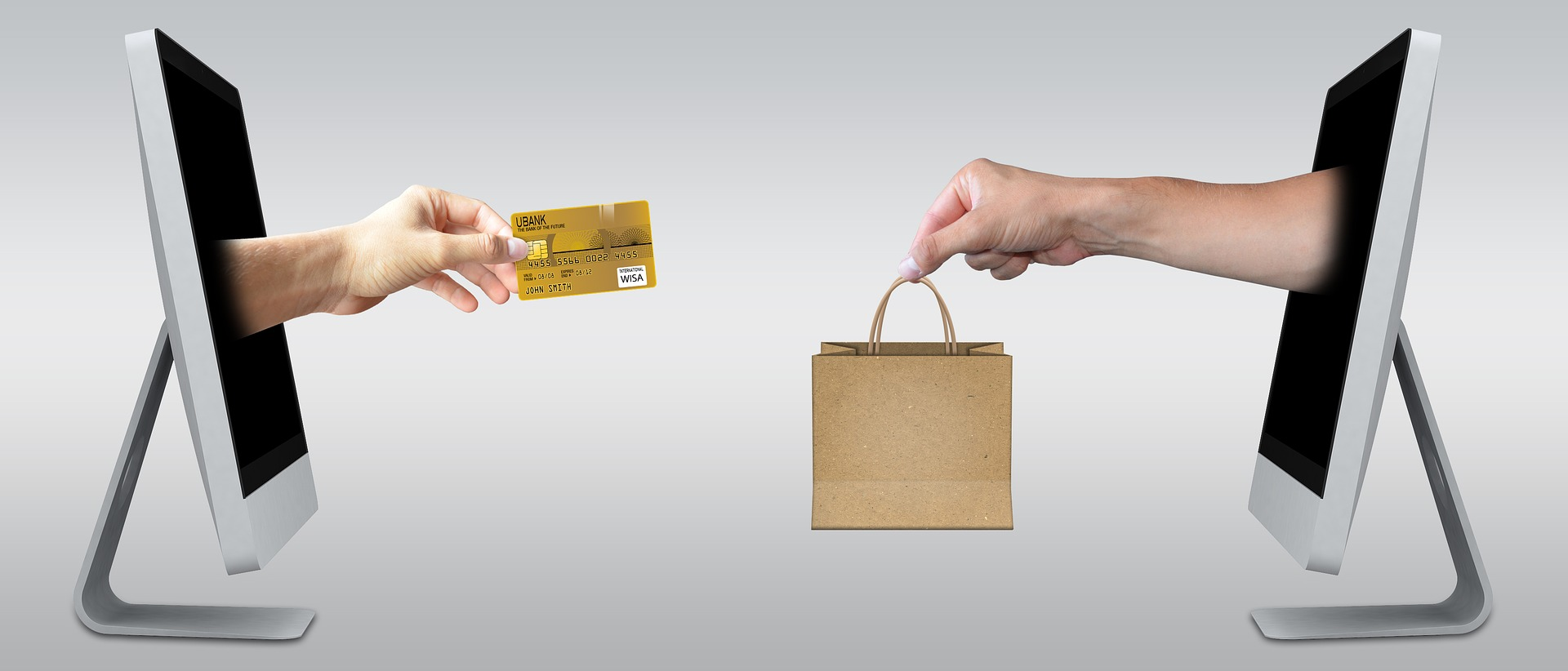 Two monitors with arms reaching out of them, exchanging a gold credit card for purchased items