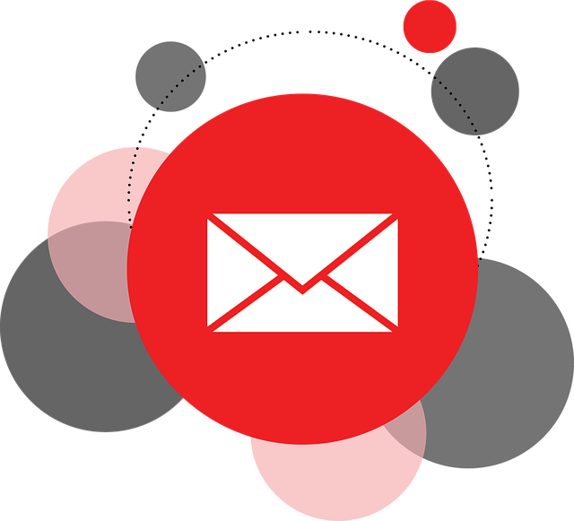 White email envelope icon with several red, pink, and gray circles behind it