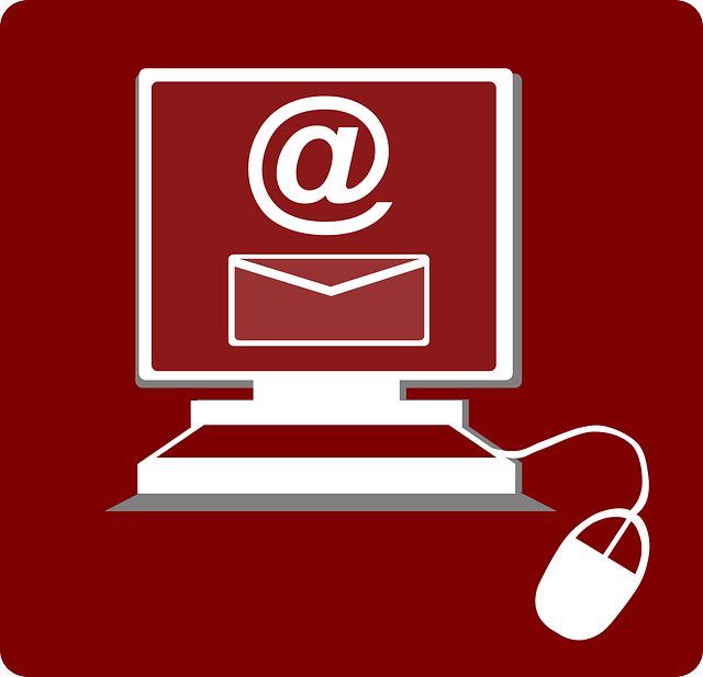 Red background with outline of a desktop monitor and mouse, screen displaying '@' sign and icon of an envelope