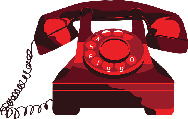 Clip art of a red rotary telephone