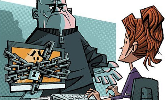 Cartoon of a red haired woman using a chained up computer while a man extends his hand for payment