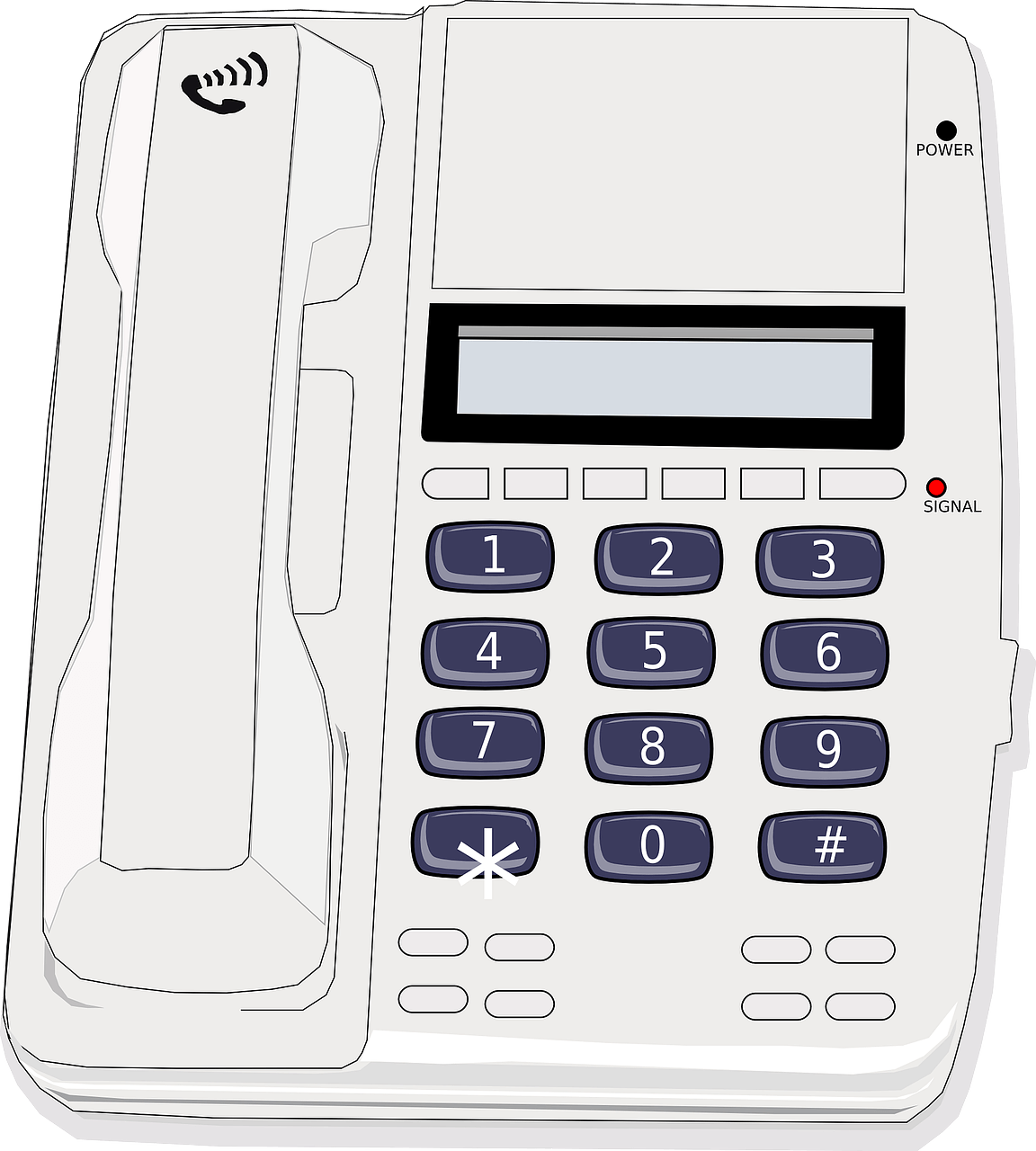 Wireframe graphic of a desktop business phone