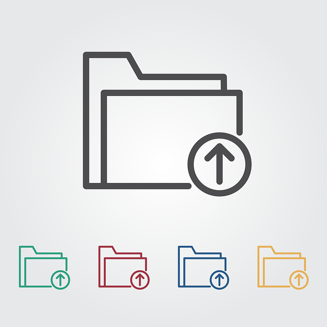 File upload icon in 5 colors: gray, green, red, blue, yellow