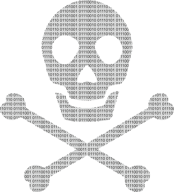 Skull and crossbones symbol drawn with 1s and 0s