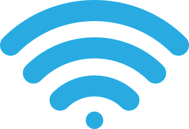 Light blue depiction of a wireless symbol